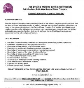 Helping Spirits Lodge Society_Facilitator Position